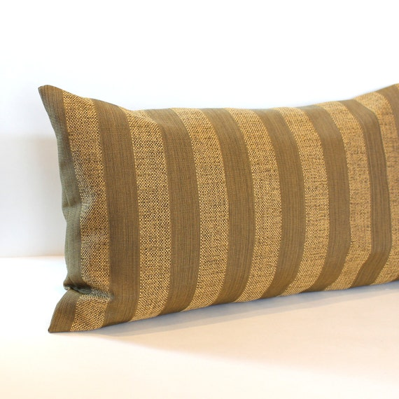 Lumbar Pillow Cover Honey Golden Brown Pillow Cover Stripe