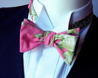 Pink, Men's Bow Tie, self tie, bowties handmade by Bagzetoile - ships worldwide from France