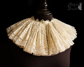 Ruff ivory lace, Tudor neckwear, Elizabethan collar, goth choker, Somnia Romantica, approx size large, see item details for measurements