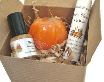 Mini Pumpkin Gift Set, Pumpkin soap, pumpkin cheesecake, lip balm, fragranced nail polish, glow-in-the dark nail polish, gift idea