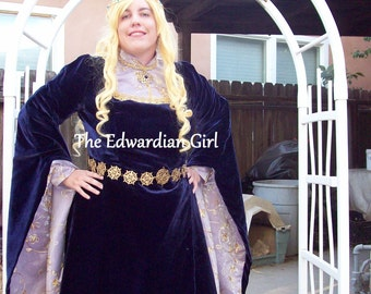 Custom made blue velvet satin and organza Medieval fantasy gown elf gown costume made in the USA