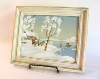Serene Vintage SNOW SCENE Wood Framed Picture- Cottage Chic, Ready to Hang