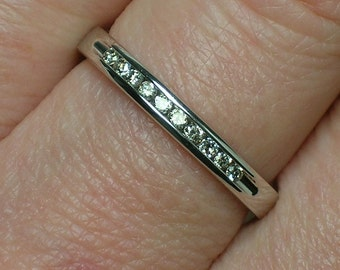 Vintage Diamond Band: Channel Set, Slim Wedding Ring, White Gold