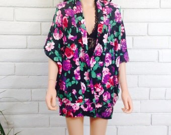 80's OVERSIZED BATWING JACKET vintage floral rose knit slouchy jacket deadstock nwt cocoon jacket M