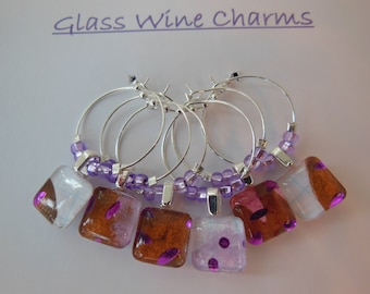 Purple Wine Charms - Chocolate Glass Charms - Set of Six - Orchid Glass Beads - Glass Wine Charms Made by Pillowscape Designs