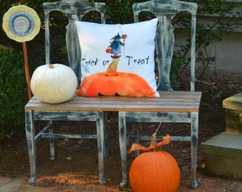 Outdoor Pillow Cover with Pillow Insert, Outdoor pillow cover, Halloween pillow, Trick or Treat Little Witch
