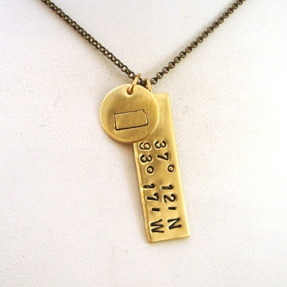 Gps Coordinates Necklace: Kansas GPS Coordinates Necklace Kansas State Brass Gold