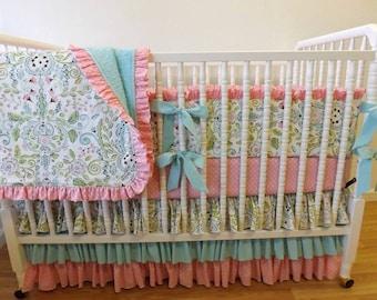 MADE to ORDER- Baby Bedding- Girl Crib Bedding Set- Leanika- Lovebirds