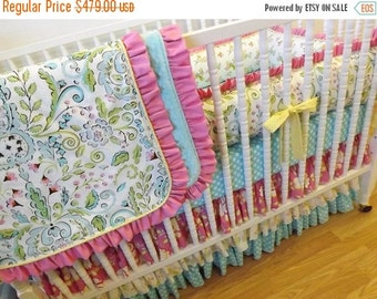 SALE--VALENTINES SALE---- Crib Bedding- Made To Order--Baby Bedding-- 4 pc Crib Bedding Set Lovebirds Bedding