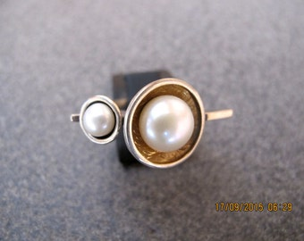 Pearls Oxidized Sterling and Gold Plated Sterling Silver Ring