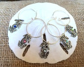 Set of silver blue crab wine glass charms - crab boil - seafood festival -  fish fry - Maryland crab - crab cakes