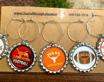 Texas Longhorns inspired wine glass charms for the wine lover in your life.... Set of 5