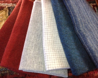 Patriotic Color Bundle, 6) Fat Eighths, Wool Textures for Rug Hooking and Applique, Two Blues, Two Whites, Two Reds, W112