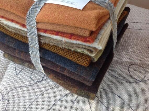 """Rug Hooking WOOL PACK for Pumpkin Trio, 20"""" x 26"""", Primitive Rug Hooking, J849, Wool for Autumn Rug Hooking Projects,"""