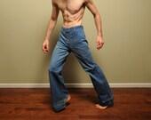 vintage 60s bellbottom jeans flare pants big bell bottom 1960s hippie pants woodstock distressed denim Wrangler jeans