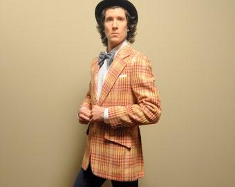 mens vintage sport coat 70s plaid sport jacket 1970s menswear plaid tweed blazer wide lapel funky yellow red Clubman 38 38R