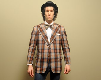 mens vintage sport coat 70s plaid flannel sport jacket 1970s menswear plaid flannel blazer wide lapel brown tan blue 40 40S short