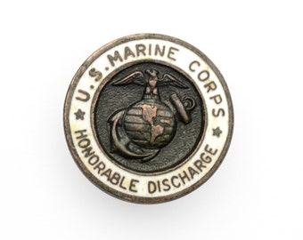 vintage 40s WWII US Marine Corps Honorable Discharge lapel pin WW2 World War II United States Marines buttonhole pin 0.5""