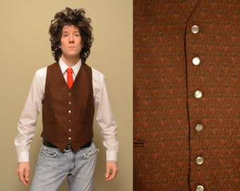 vintage 60s 70s brown vest brocade pattern pearl button 1960 1970 menswear German vest suit vest mens dress vest large L
