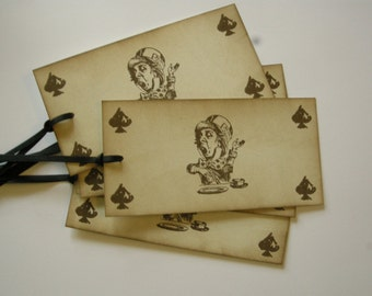 Vintage Style Mad Hatter - 4 Corner Spade - 5x Tags - Alice in Wonderland