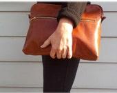 Leather Portfolio, Zipper, Leather Case,  Bag, Zipper Pocket, Zipper Closure
