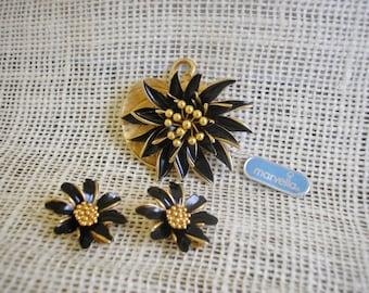 Vintage Marvella Demi Parure Orginal Tag Brooch Set Black and Gold Brooch Retro Marvella Jewelry Mod Style Jewelry Priscilla's Pink Closet