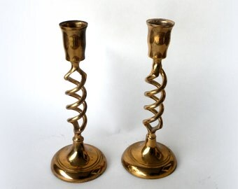 """Christmas Candle Holders Pair (2) Twist Brass 8"""" Candlestick- Brass Candle Holders- Solid Brass- Pair of candlesticks- Set- Taper Candles-"""