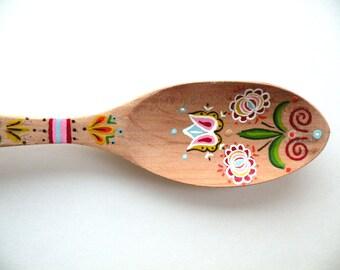 Folk Art Wooden Spoon- Display- Handpainted- Gift- Kitchen Decor- Serving- Tulip- Shelf Display