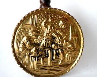Letter Bill Holder- Hammered Brass Wall Hanging- Elpec- Pocket- Made in England