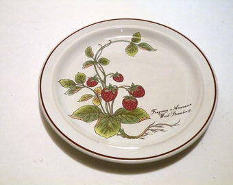4 Botanical Garden- Dessert Plate- 451 Strawberry Patch-  Pottery- Berries- Set- Collection- Display- Food