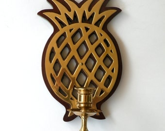 Nice Quality- Brass Pineapple Candle Holder- Wall Hanging Entryway Welcome Decor- Living Spaces