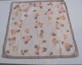 Beautiful Beige Large Floral Cotton Vintage Hankie Handkerchief - New Unused