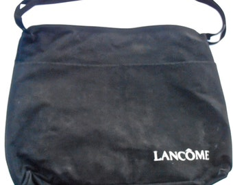 Vintage Black Fabric Laptop Bag Messenger Lancome Shoulder Travel Carry On Side Pockets Cloth Cosmetic Designer Carryall Computer Carry All
