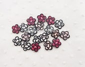 6pcs - Pretty Small Camellia Rhinestone Mix Decoden Cabochon (19mm) FL10017