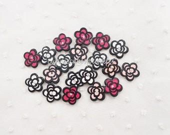 6pcs - Pretty Small Camellia Rhinestone Mix Decoden Cabochon (19mm) FL10017