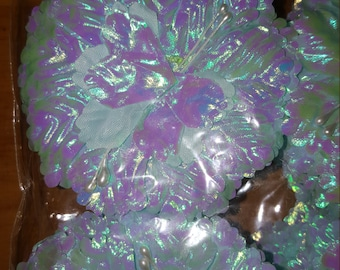 50 carnation iredescent  flower  capia base for  capias corsages and crafts pink whit and blue