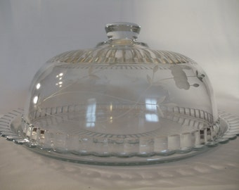 Heavy Glass Scalloped Edge Etched Flower Domed Cake Pastry Server Display Dish