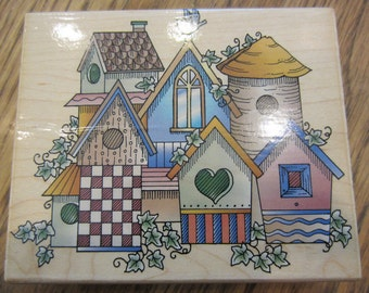 Birdhouse Village Collage H1153 Hero Arts Wooden Rubber Stamp