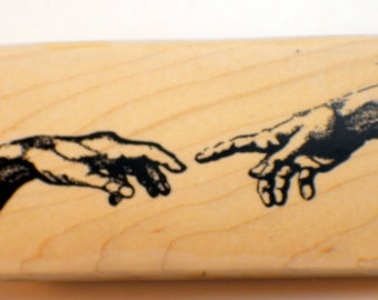 Stampington And Co Wooden Rubber Stamp Reaching Out Artist Drawing of Hands