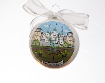 Jackson Square Hand Painted Glass Ornament