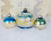 Teal Blue Vintage Christmas Ornaments Striped Hand Painted White Yellow Green Set of 3 Three 1950's