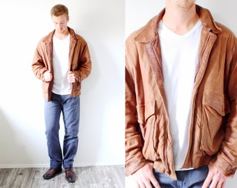 Vintage Mens leather distressed jacket // BOHO /// MEDIUM Large brown caramel brown // leather jacket // retro hipster jacket // destroyed