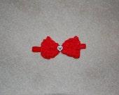 Valentine's Day Red Bow Headband with rhinestone heart center