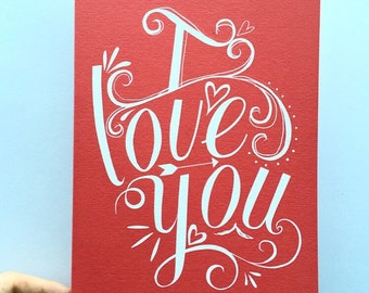 i love you' typography card