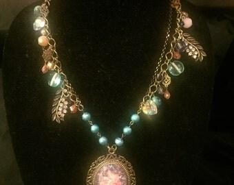 Royal Jasmine Cameo/charm Necklace