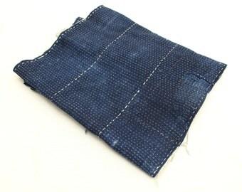 Japanese Antique Boro Textile. Indigo Ikat Kasuri Cotton with Sashiko (Ref: 123)