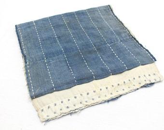 Japanese Antique Boro Textile. Indigo Ikat Kasuri Cotton with Sashiko (Ref: 130)