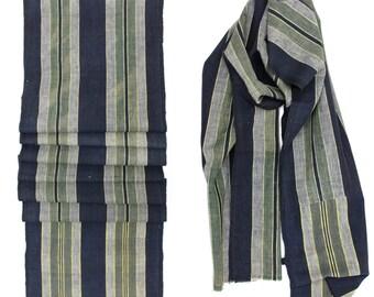 Japanese Artisan Hand Loomed Ikat. Vintage Cotton. Striped Indigo Folk Textile (Ref: 108)