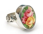 Size 8 Eggshell Pink and Yellow Roses Sterling Oval Ring