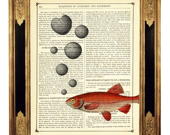 Fish Art Print Bubbles Heart Love Valentine's Day - Vintage Victorian Book Page Dictionary Art Print Steampunk Nautical Sealife Aquarium